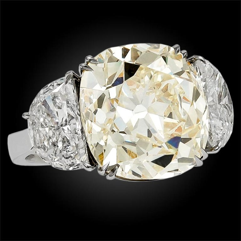 Women's or Men's 13.23 Carat with GIA Certified Old Mine Natural Fancy Yellow Diamond Ring For Sale