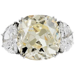 13.23 Carat with GIA Certified Old Mine Natural Fancy Yellow Diamond Ring