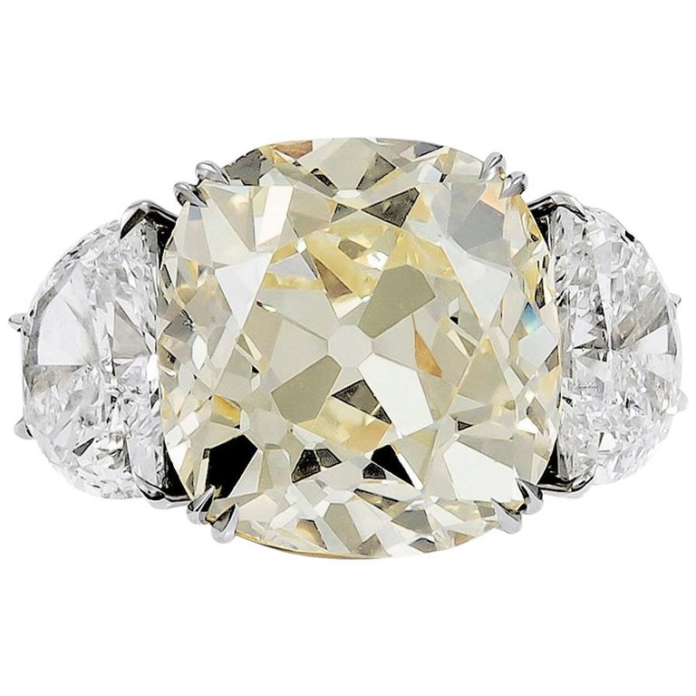 13.23 Carat with GIA Certified Old Mine Natural Fancy Yellow Diamond Ring For Sale