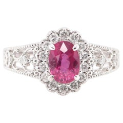 1.324 Carat No Heat Ruby and Diamond Cocktail Ring Set in Platinum