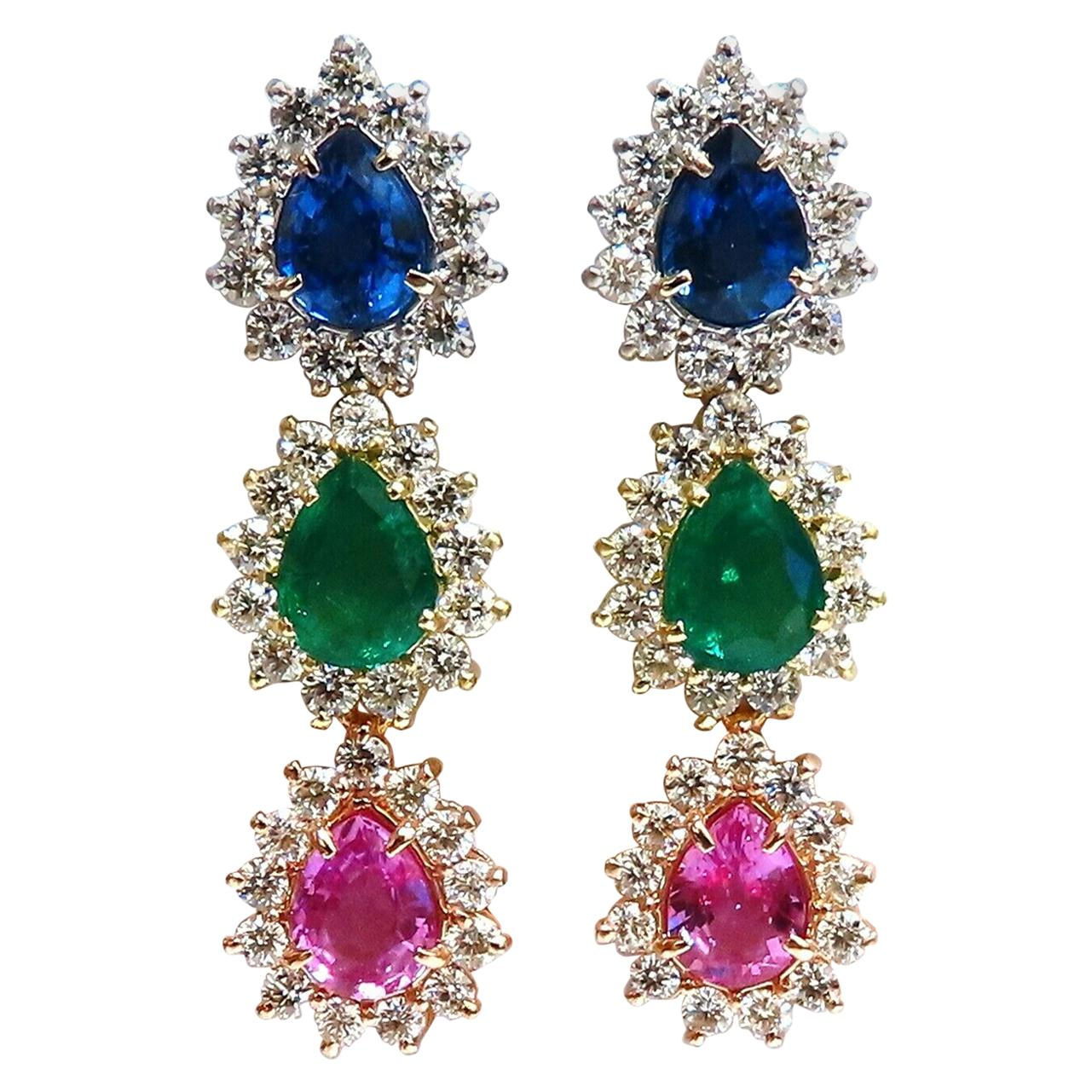 13.24Ct Natural Emeralds and Sapphires Three-Tier Dangle Earrings 18 Karat Pears