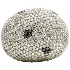 13.25 Carat 18 Karat White Gold Black White Diamond Large Bombe Dome Ring