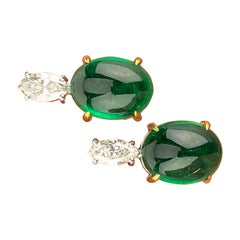 13.25 Carat Zambian Emerald Cabochon and Diamond Stud Earrings
