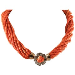 Orange Corals Multi-Strands Necklace with Rose Gold and Silver Closure