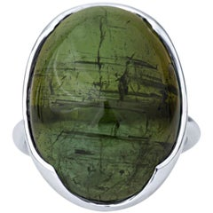 13.25 Carat Cabochon Green Tourmaline Set in 14 Karat White Gold Ring
