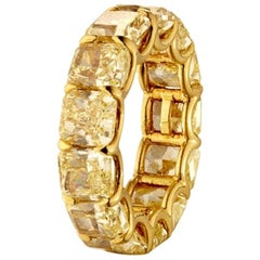 13.26 Carat Fancy Yellow Radiant Cut Diamond Eternity Band Ring