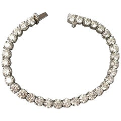13.27 Carat Diamond and Platinum Tennis Bracelet