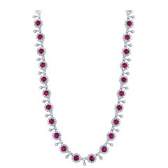 13.27 Carat Ruby and Diamond Necklace