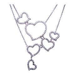 1.33 Carat 14 Karat Gold Pave Set Multi Heart Diamond Necklace