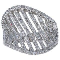 1.33 Carat Diamond Cocktail Ring 14 Karat White Gold