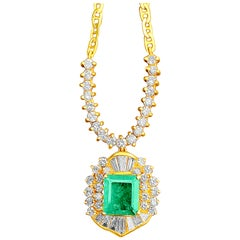 1.33 Carat Emerald-Cut Colombian Emerald, Diamond and 18 Karat Gold Pendant