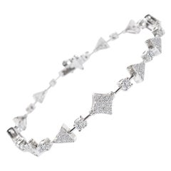 1.33 Carat GVS Diamond Squares & Triangles Tennis Bracelet 18 Karat White Gold