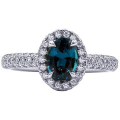 1.33 Carat Natural Brazilian Alexandrite and Diamond Ring, 18 Karat White Gold