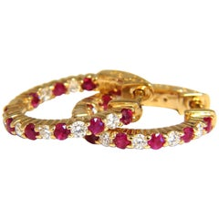 1.33 Carat Natural Ruby Diamonds Alternated Hoop Earrings 14 Karat