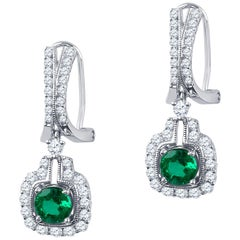 1.33 Carat of Natural Round Emerald Earrings with 1.17 Carat Brilliant Diamond