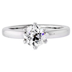 1.33 Carat Old European Cut Diamond J/SI1 GIA Solitaire Engagement Ring