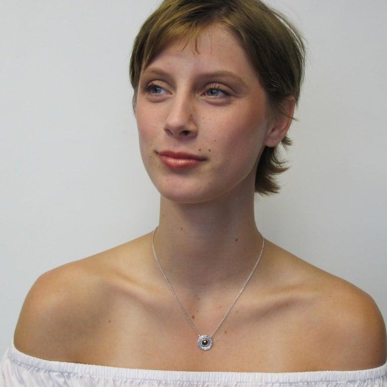 Artisan 1.33 ct. Rose Cut Black Diamond, 18k White Gold Bezel Pendant Necklace w/ Chain For Sale