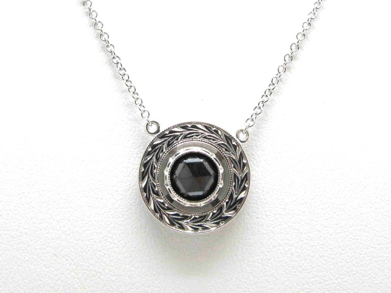 1.33 ct. Rose Cut Black Diamond, 18k White Gold Bezel Pendant Necklace w/ Chain In New Condition For Sale In Los Angeles, CA