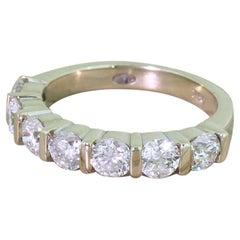 1.33 Carat Round Brilliant Cut Diamond Seven-Stone Ring