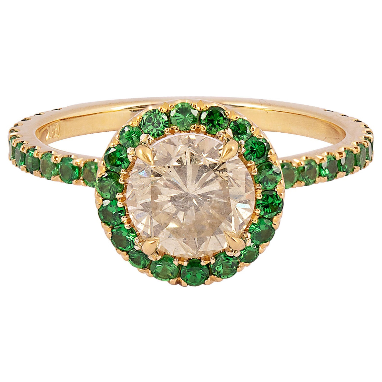 1.33 Carat Round Brilliant Diamond and Tsavorite Halo Ring