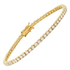1.33 Carat Round Diamond 18 Karat Gold Four Claw Tennis Line Riviera Bracelet
