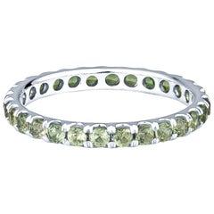 1.33 Carat Round Green Natural Sapphires in 14 Karat White Gold Eternity Band