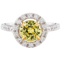 1.33 Carat Round Yellow Sapphire and Diamond Cluster Ring in 18 Carat Gold