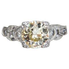 1.33 Carat Vintage Class Old Mine Cut Natural Diamond Engagement Ring Platinum