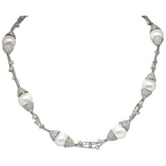 13.30 Carat White Gold Diamond Pearl Necklace