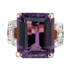 13.31 Carat Amethyst Diamond Rose Gold Art Deco Ring