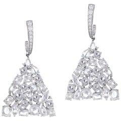 13.31 Carat Rose Cut Diamonds and Full Cut Diamonds Pyramid Earrings