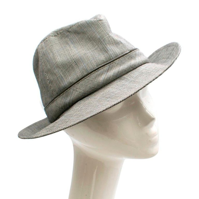 Christian Dior Grey Prince Of Wales Grey Check Hat   - Trilby style  - Grey prince of wales check - Grey Acetate piping - Silver-tone Dior logo  - Black Dior lining   Made in France  Dry Clean Only   Across head 20cm Full length across 32cm Height