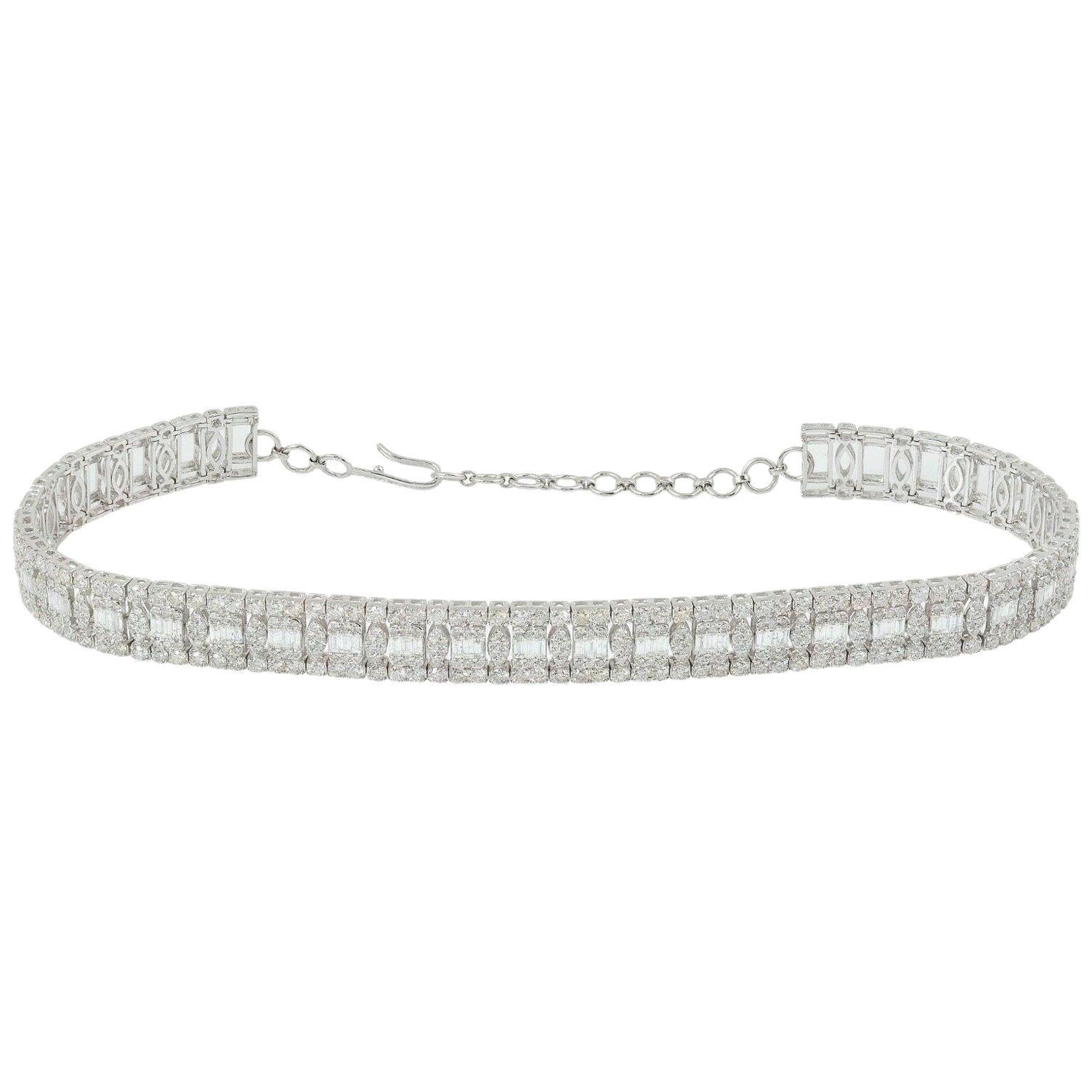 13.35 Carat Diamond 18 Karat White Gold Choker Necklace