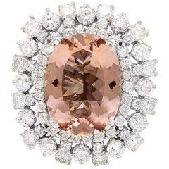 13.35 Carat Morganite 18 Karat Solid White Gold Diamond Ring