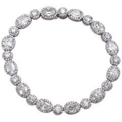 13.36 Carat Oval and Round Diamond 18 Karat Gold Tennis Bracelet
