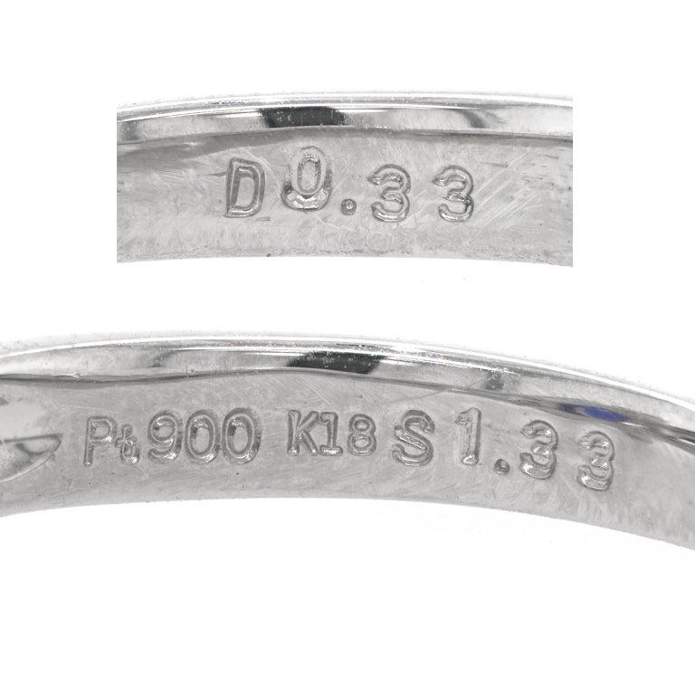 Women's or Men's 1.33 Carat Sapphire and Diamond-Set Platinum Ring For Sale