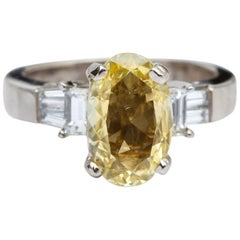 1.34 Carat Canary Yellow Diamond Engagement Ring, Platinum