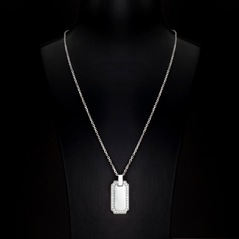 Contemporary 1.34 Carat Diamond 18 Karat Solid White Gold I.D. Tag Pendant Necklace For Sale