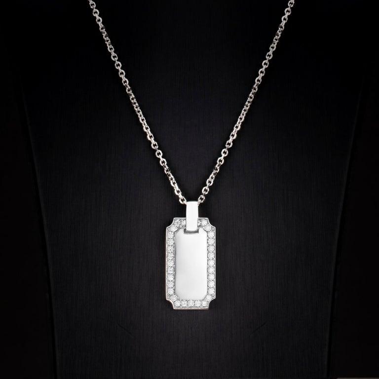 Round Cut 1.34 Carat Diamond 18 Karat Solid White Gold I.D. Tag Pendant Necklace For Sale
