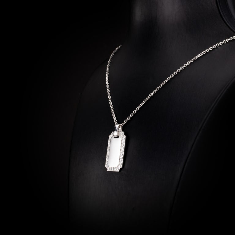 1.34 Carat Diamond 18 Karat Solid White Gold I.D. Tag Pendant Necklace In New Condition For Sale In Hong Kong, Kowloon