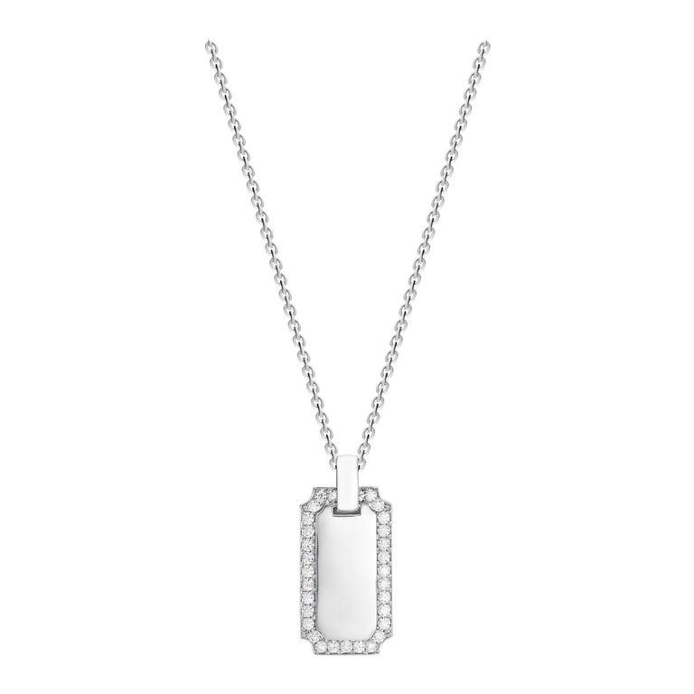 1.34 Carat Diamond 18 Karat Solid White Gold I.D. Tag Pendant Necklace For Sale