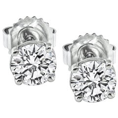 1.34 Carat Diamond Gold Stud Earrings