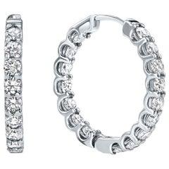 1.22 Carat Diamond Modern Hoop Earrings in 14 Karat White Gold - Shlomit Rogel