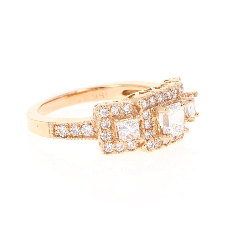 Modern 1.34 Carat Diamond Three-Stone 18 Karat Rose Gold Ring For Sale