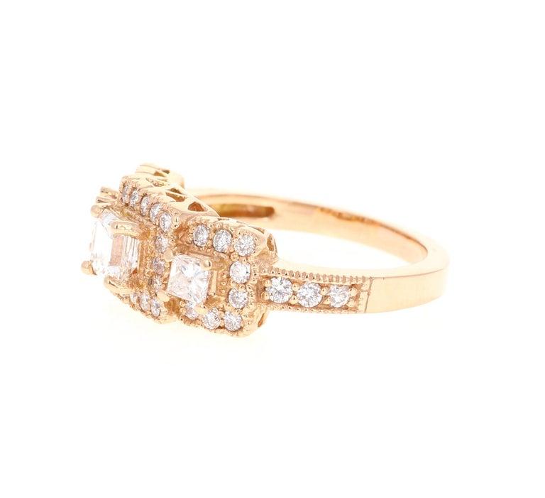 Round Cut 1.34 Carat Diamond Three-Stone 18 Karat Rose Gold Ring For Sale