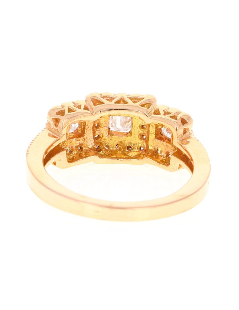 1.34 Carat Diamond Three-Stone 18 Karat Rose Gold Ring In New Condition For Sale In Los Angeles, CA