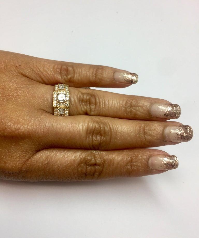 1.34 Carat Diamond Three-Stone 18 Karat Rose Gold Ring For Sale 2