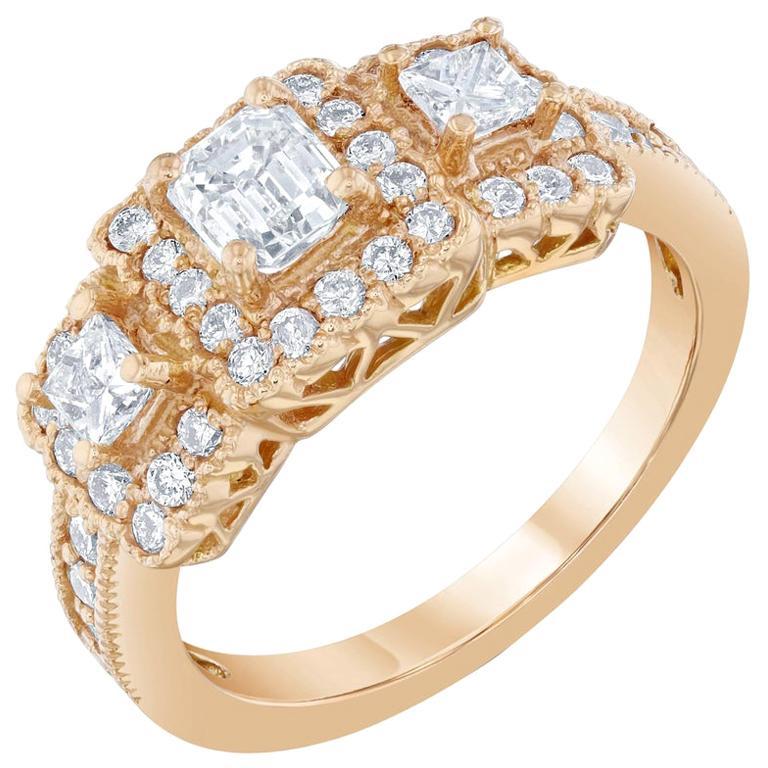 1.34 Carat Diamond Three-Stone 18 Karat Rose Gold Ring For Sale