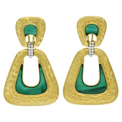 13.4 Carat Malachite Diamond 18 Karat Gold Door Knocker Earrings