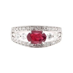 1.34 Carat, Natural Ruby and Diamond Ring Set in Platinum